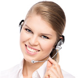 Portrait of telemarketing headphones woman at office