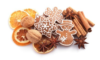 Gingerbread cookies and spices for Christmas baking
