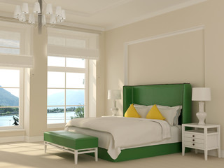 Green bed in white interior