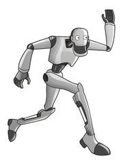 Cartoon illustration of a running robot