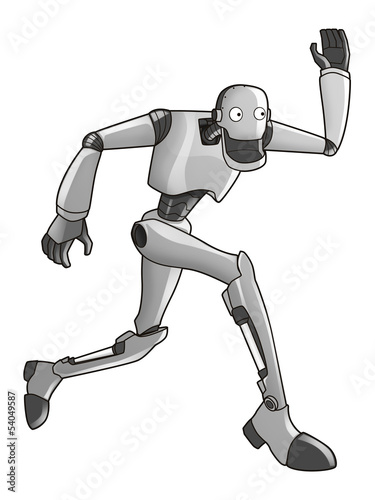 Cartoon illustration of a running robot