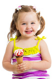 smiling baby girl eating ice cream isolated