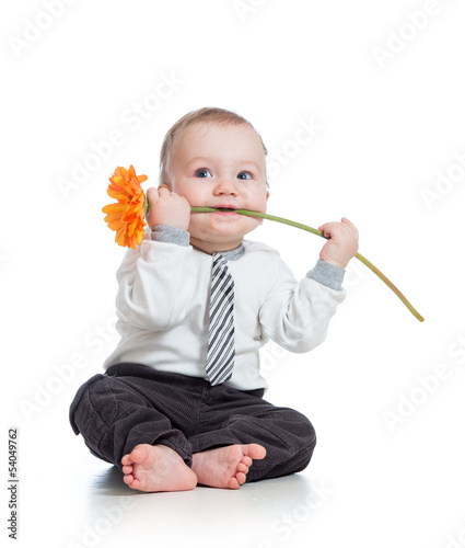 funny boy with flower , isolated on white