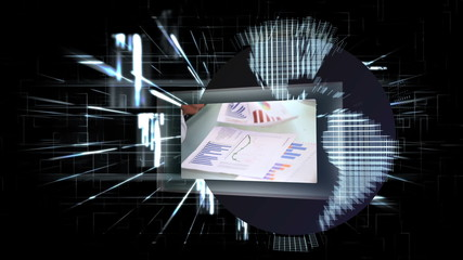Business scenes appearing on futuristic screens