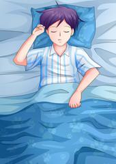 Cartoon illustration of a man having a sleep
