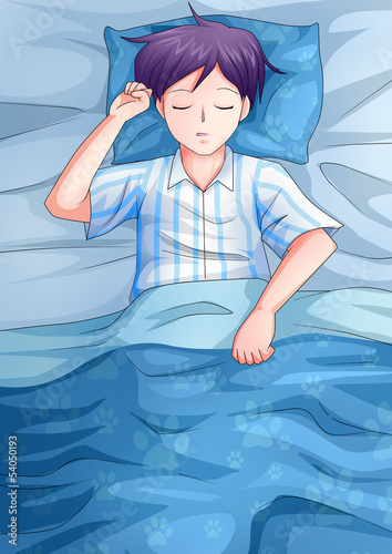 Cartoon illustration of a man having a sleep