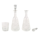 Crystal glass tumbler and decanter vessel