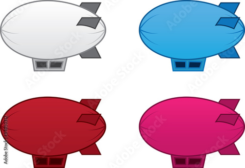 Airship blimps in various colors