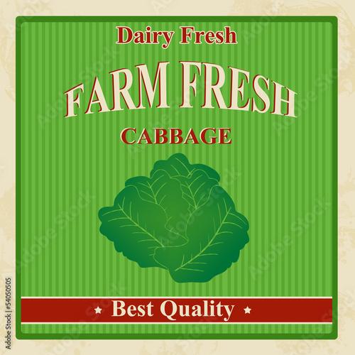 Vintage farm fresh cabbage poster
