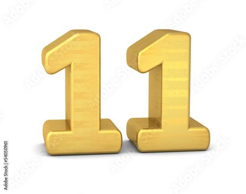 zahl cipher 11 gold vertikal
