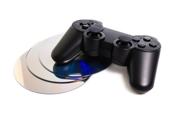 Game controller and disc isolated on white background