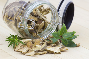 herbs and dried mushrooms - boletus