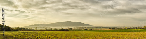 Panorama with field and Sleza Mountain, Poland