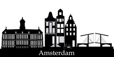 amsterdam skyline with text