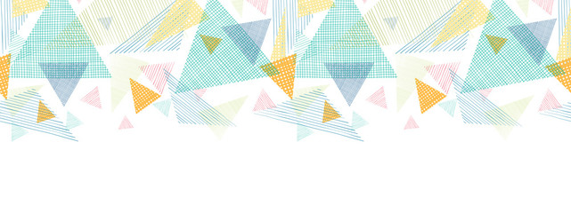 Vector abstract fabric triangles horizontal seamless pattern