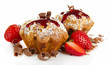 Tasty muffin cakes with strawberries and chocolate, isolated