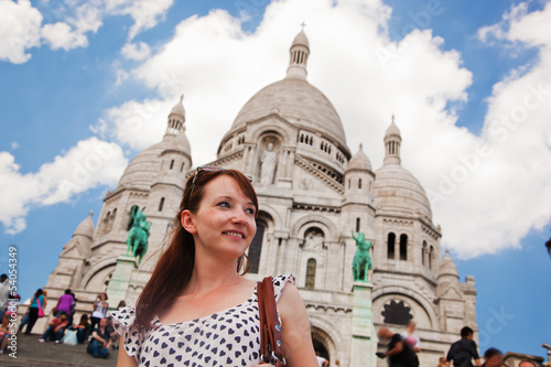 Girl near Sacre-Coeur Basilica. Paris, France