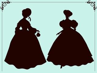 Nineteenth century style historic fashion women silhouettes