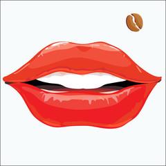 женские губы с родинкой в виде зерна кофе