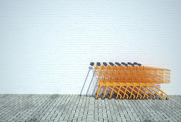 Supermarket shopping trolleys opposite wall