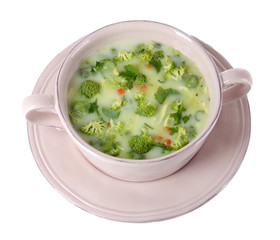 Cabbage soup in plate isolated on white