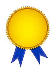 Gold Award Medal with Blue Ribbon