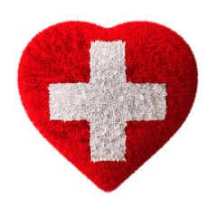 Flag of Switzerland - Fluffy Heart - First aid