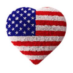 American Flag - Fluffy Heart