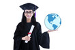 Beautiful female graduate holding world globe - isolated