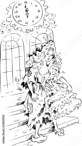Cinderella in midnight wearing ball dress