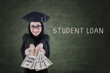 Female graduate get money from student loan