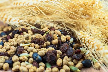 dried cereal seeds and fruits with stalks of wheat ears