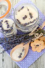 Jar of lavender sugar and fresh lavender flowers