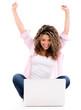 Happy woman online