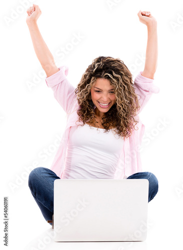 Happy woman online