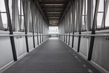 Empty steel covered bridge