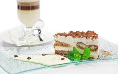 Cake tiramisu and  cup of coffee