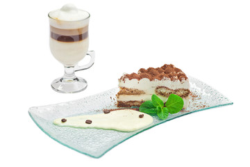 Cake tiramisu and  cup of coffee