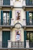 Elegant decorated modernist building, Barcelona. Spain. poster