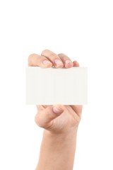 Woman hand showing a business card