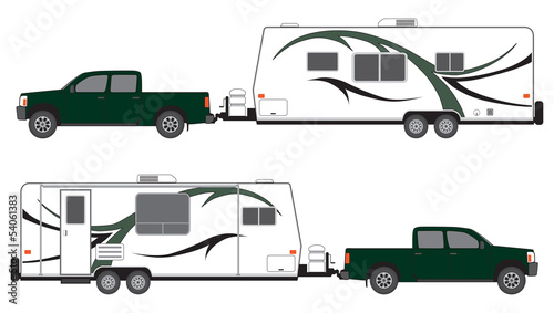 Camper trailer and pickup