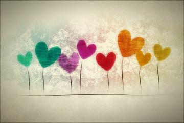 grunge background hearts