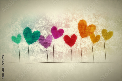 grunge background hearts - 54061993
