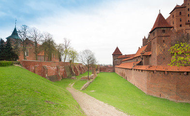 Teutonic castle Malbork in Pomerania region of Poland.