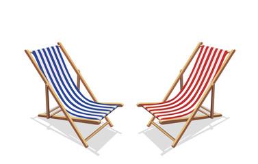 Zwei Liegestühle, rot und blau
