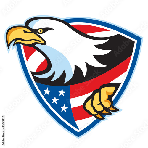 American Bald Eagle Flag Shield