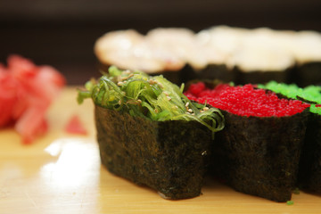 Sushi with caviar closeup
