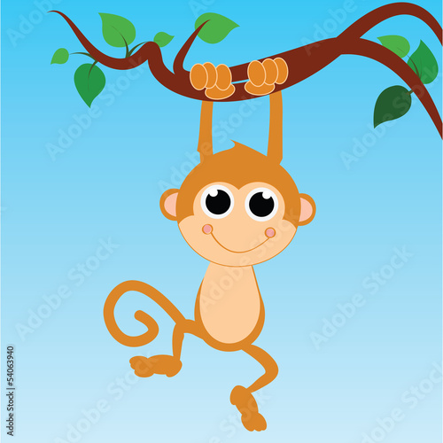 monkey hanging from a tree on abstract sky background