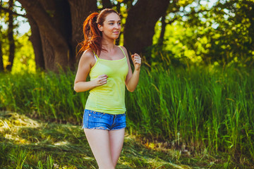 brunette woman young runner running outdoors, prospect lifestyle