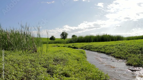 River Curving Through Green Spring Field Nature Travel